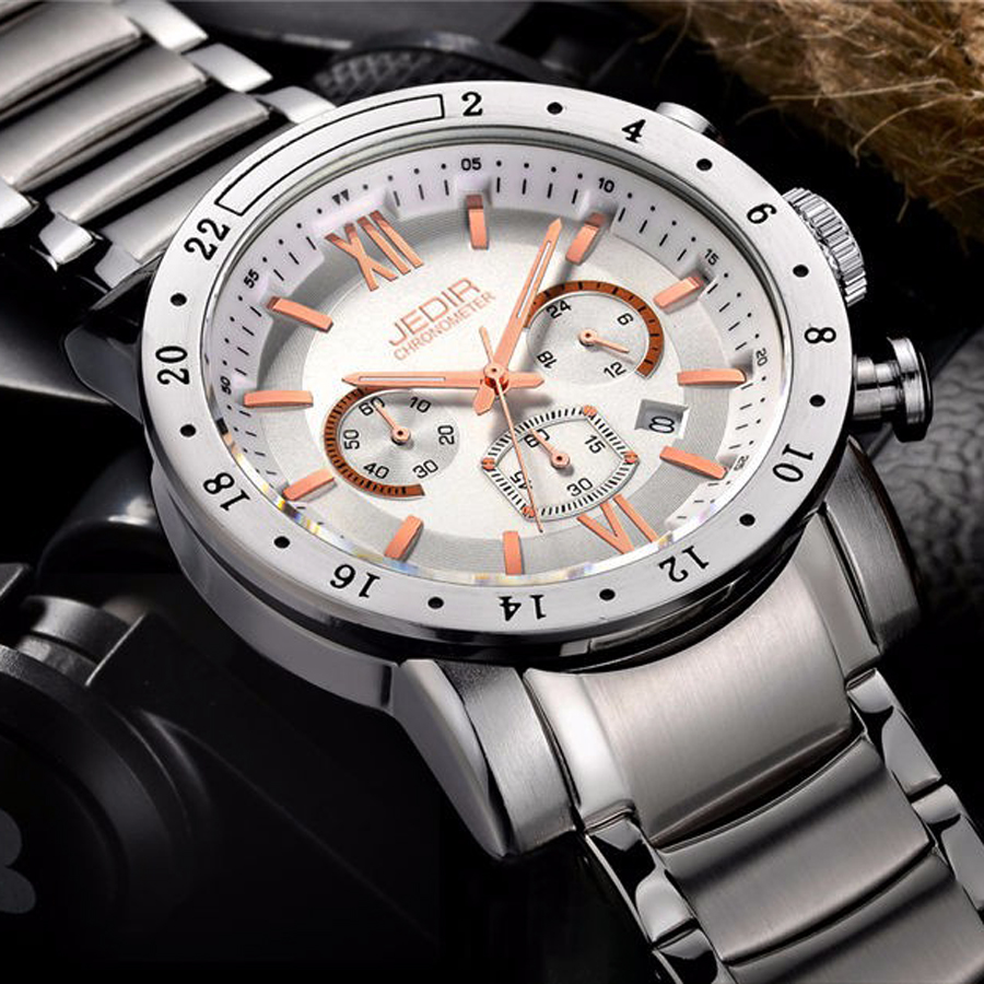 JEDIR Mens Watches Top Brand Luxury Full Steel Quartz Watch Chronograph 24 Hours Luminous Clock Men Sport Waterproof Wristwatch  jedir brand watches men luxury business stainless steel quartz watch chronograph luminous clock male sports waterproof watches