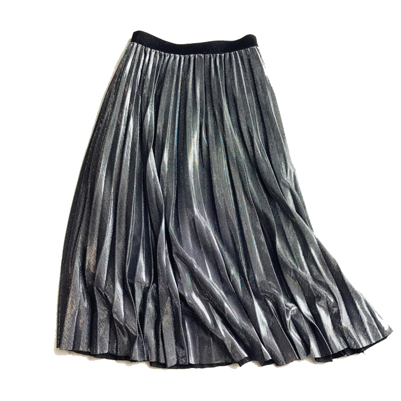 Woman Autumn Vintage Silver Golden Metallic Feel Solid Midi Pleated Skirts High Waist Mid-Calf A-line Golden Silver Black Skirt