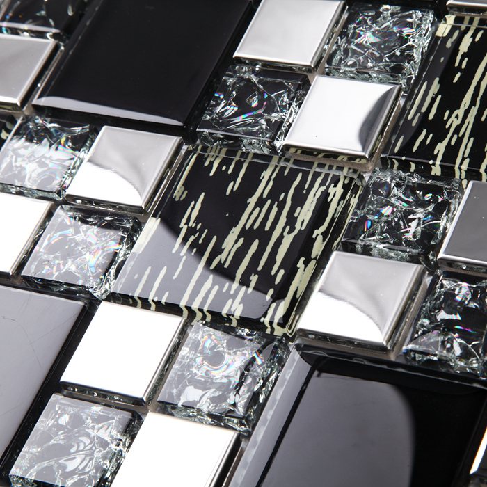 EHD2009 Black Glass Mixed Silver Metal Stainless Steel Mosaic Tiles For  Kitchen Backsplash Bathroom Shower Tile Part 58
