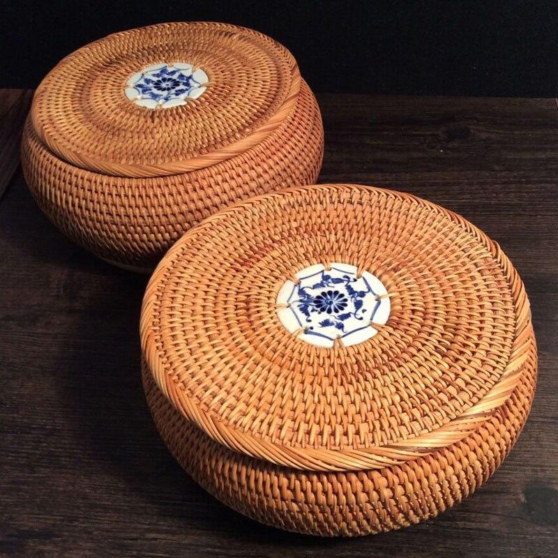 100% handgefertigte Vietnam Herbst Rattan teedose Pu'er tee box tin dekorative tee dosen runde lagerung dosen kleine lagre tee korb