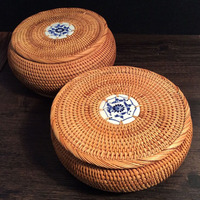 100 Handmade Vietnam Autumn Rattan Tea Caddy Pu Er Tea Box Tin Decorative Tea Tins Round