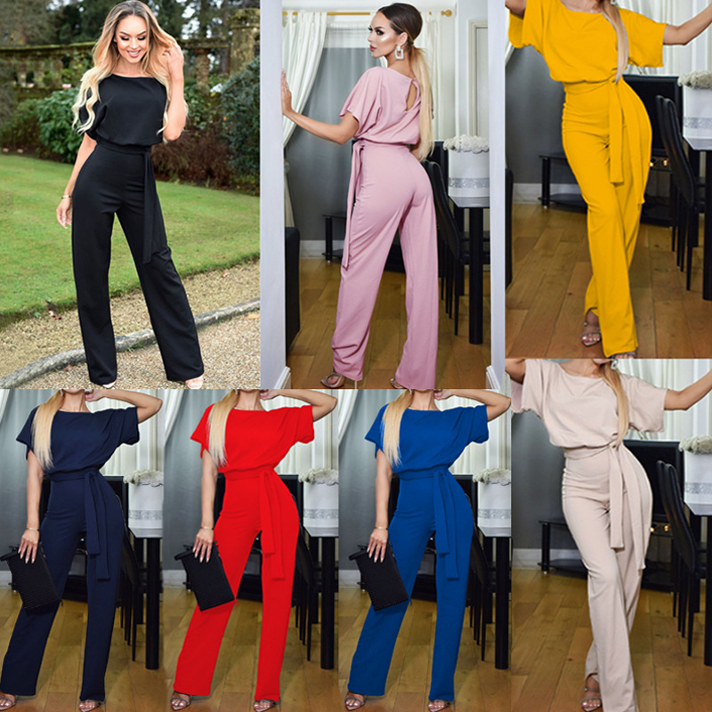 2019   Jumpsuit   Summer Women Fashion Elegant Short Sleeve O Neck Overalls For   Jumpsuits   Casual Button Romper With Belt Bodysuit