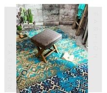 Estilo mediterrâneo azul tapete de casamento, azul tapete de chão da sala 200*300 cm, decoração de casa tapete tapete de cabeceira