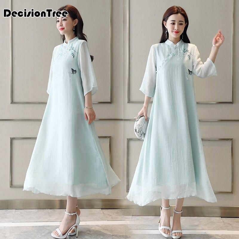2019 été rose amélioré style chinois robe quotidienne femme coton rembourré chaud cheongsam imprimé élégant qipao vestidos