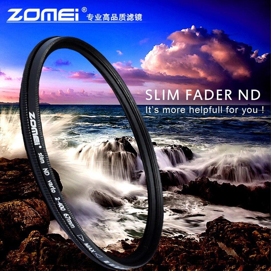 TRASPORTO LIBERO ZOMEI Slim ND Regolabile filtro ND2-400 Fader Densità Neutra Variabile 49/52/55/58/62/ 67/72/77/82mm