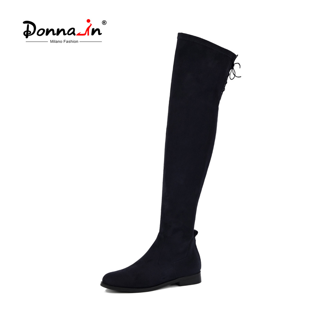 Donna-in Fashion High Boots Women Above Knee Black Stretch Sock Booties Round Toe Low Heel Thigh High Boots Lace-up Ladies Shoes lace up plunge neckline high low sweater