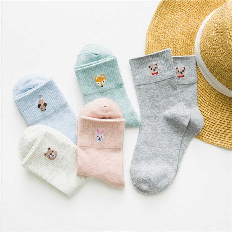 Nowych kobiet ciepłe miękkie jesień zima skarpetki japoński styl cartoon mały zwierzę rury skarpetki dziewczyny śliczne niedźwiedź mysz fox królik sokken