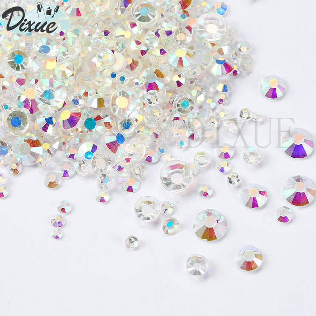 Mix Sizes Transparent Stone SS3-SS30 Glass Gem Clear AB 3D Nail Rhinestones  Flat Back Non Hotfix Rhinestone 023 52c6ff5aded3