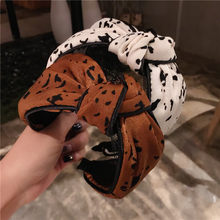Korea High Quality Leopard Knotted Wide Hairbands Multi Color Hair Accessories Girls Hair Band Dot Print Headbands For Women(China)