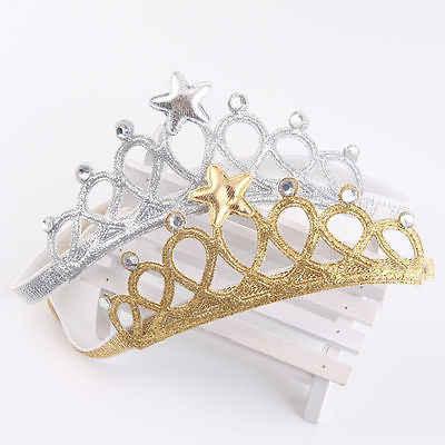 2019 Happy เจ้าหญิงเด็กสาวอุปกรณ์เสริมผมทองเงินเจ้าหญิง Tiaras Crowns แถบคาดศีรษะยืดหยุ่นวันเกิดของขวัญร้อน
