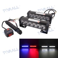 Tomall 6 6LED Car Warning Light Bar 2x18W Red Blue Police Lamp Change White DRL Flood