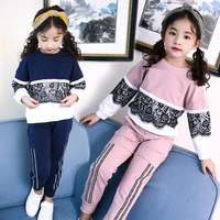 Retail 2Pcs Kids Girls Cute Spring Clothing Sets For School Girls Beautiful Cotton Patchwork Lace Pullover