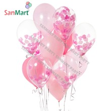 12Pcs Pink Princess Girl Party Decorations Heart Love Wedding Confetti Balloons Round Baby Rose Birthday