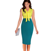 Womens Elegant Front Bow Sexy Fashion V Neck Sleeveless Yellow Green Patchwork Knee Length Summer Formal Party Dress 200058
