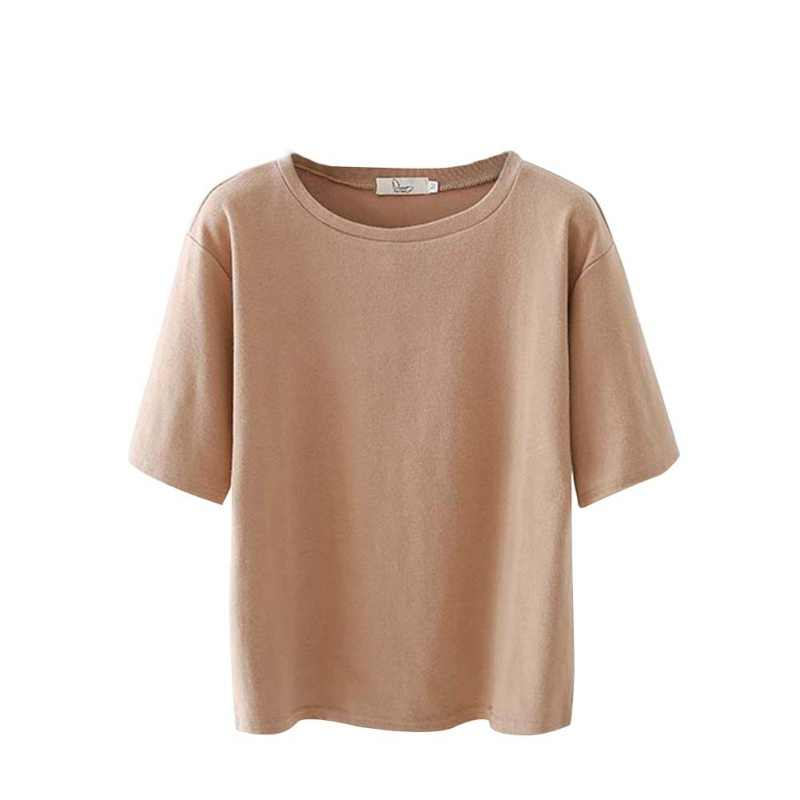 Korean Style Short Sleeve T-shirt Women Fashion Loose Basic T-shirts Casual Tops