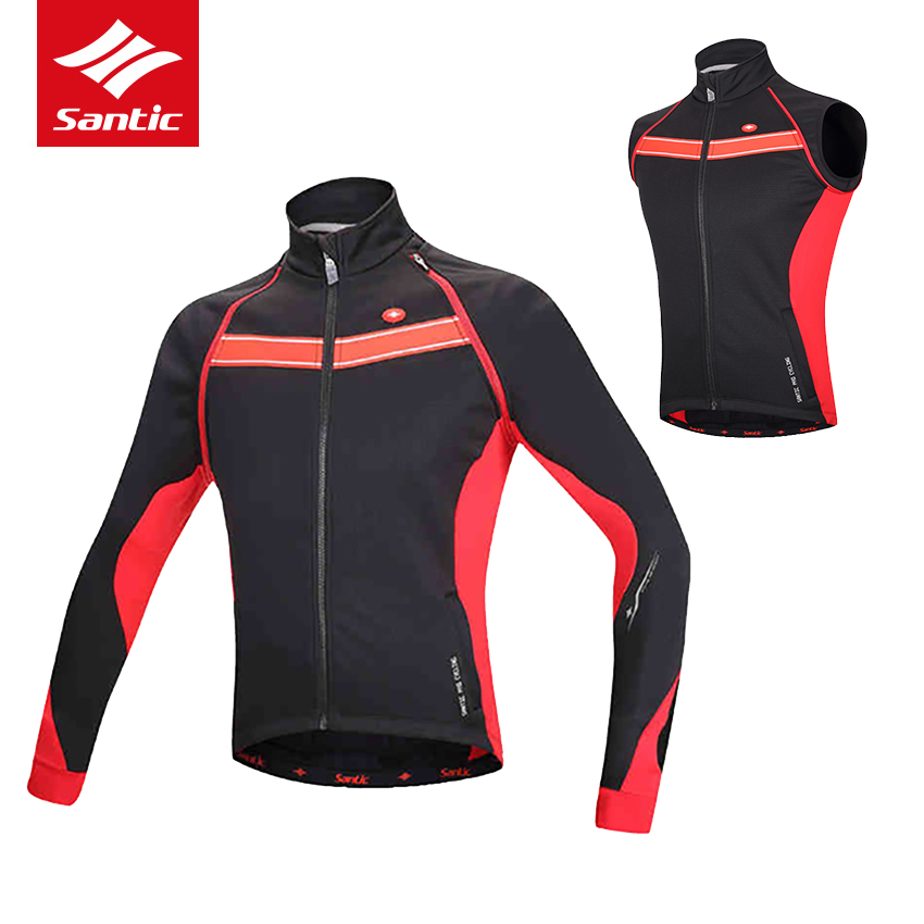 Santic Winter Cycling Jacket Clothing Two Way Wear Men Vest Coat Windproof Fleeve Thermal MTB Road Bicycle Jacket Ropa Ciclismo santic men cycling jacket upf30 mtb bicycle bike rain jacket raincoat long sleeve outdoor sport windproof cycle clothing 2017
