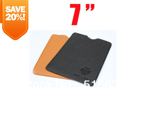 Universal Leather Cover bag Case Android Robot Pattern holster pouch for 7 inch Phone Tablet PC MID E-book
