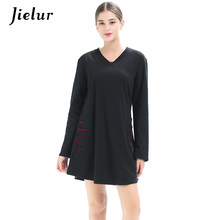 Jielur 2019 Spring Fall V-neck Lady's T-shirt Full Sleeve Holes Loose T-shirts for Women Simple Black Plus Size M-4XL Top Female(China)