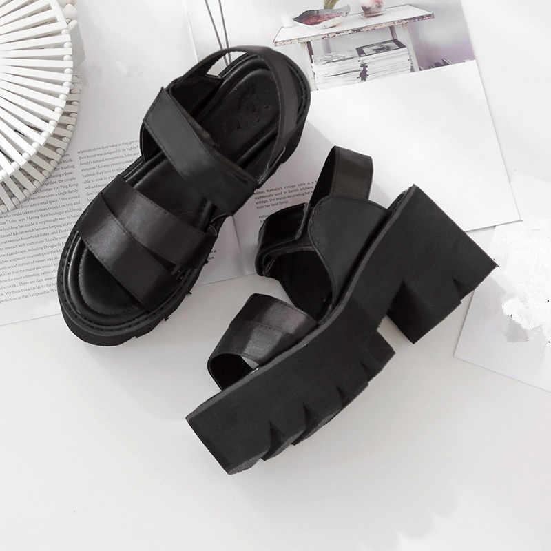YMECHIC 2019 Gladiator Sandalen Vrouwen 8.5 cm Hoge Hak Klittenband Riem Black Gothic Punk Dames Sandalen Platform Sandalen schoenen