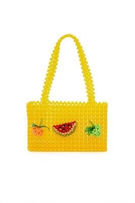 Nouvelles perles sac cristal perles boîte fourre-tout sac femmes parti sac à main 2019 été vintage marque de luxe jaune fruits en gros