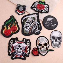 1 PCS Rose skull Embroidered Patches for Clothing DIY Stripes Applique Clothes Stickers Iron on Cross Badges Biker Parches @W russia logo letter embroidered patches for clothing diy stripes applique clothes stickers iron on creative badges biker parches