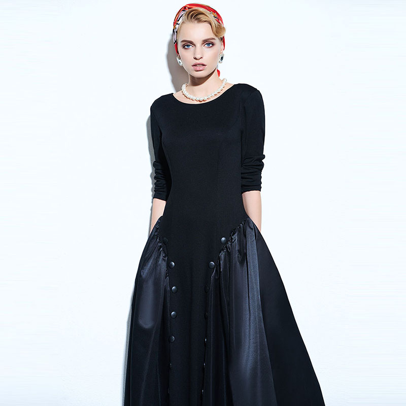 9991e12816 Sisjuly Women Summer Solid Black Dress Female A line Round Neck Dresses  Long Sleeve Knee Length Female Summer Girls Dresses-in Dresses from Women's  Clothing ...
