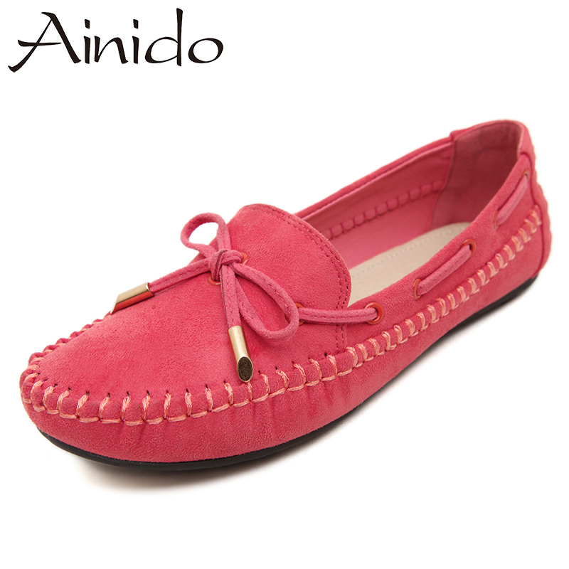 AINIDO New Spring Autumn Ballet Flats Plus Size High Quality Loafers Women Causal Fashion Women's Flats Single Shoes new 2017 spring summer women shoes pointed toe high quality brand fashion womens flats ladies plus size 41 sweet flock t179