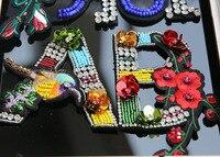 LetterAB fiore paillettes Strass spilla perline patch applique ricamato sew on patch moda vestiti decorazione di patch