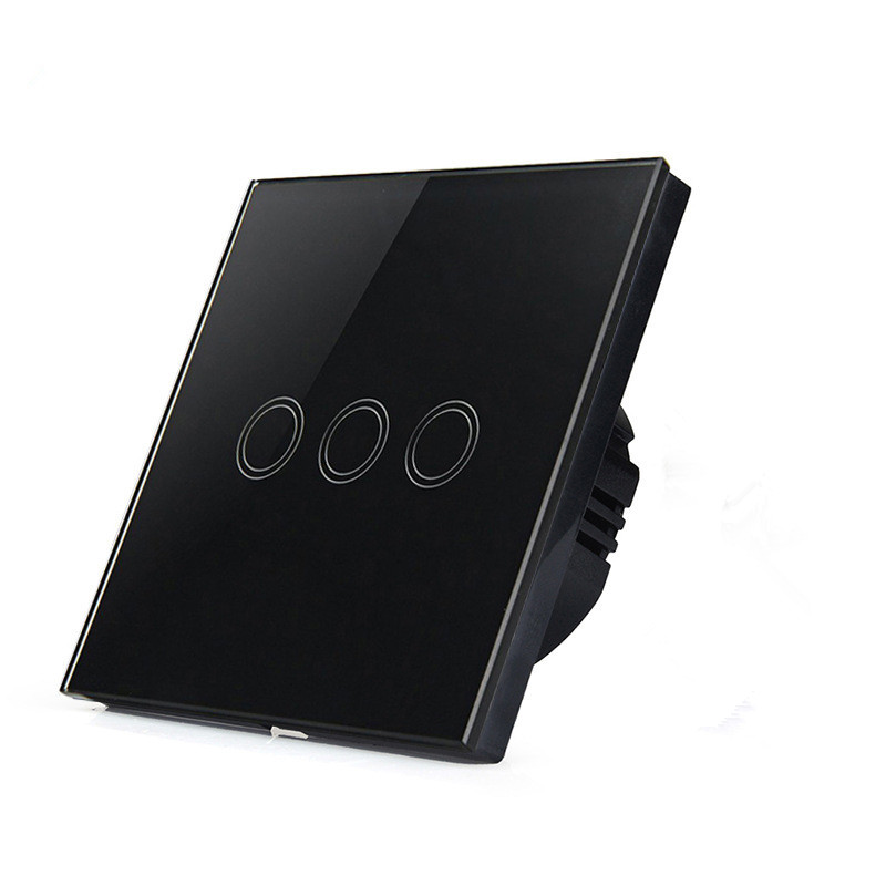 ФОТО Toughened Glass 3 gang touch button wall switch, AC110-240V,EU standard,black color,free shipping SKU: 5585