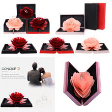3D Pop Up Rose Ring Box Wedding Engagement Jewelry Storage Holder Case Bump(China)