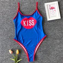 2019 One Piece Swimsuit KISS Letter Printing Swimwear Women High Cut Low Back Bathing Suit Monokini Bodysuit Beachwear Girls цена 2017