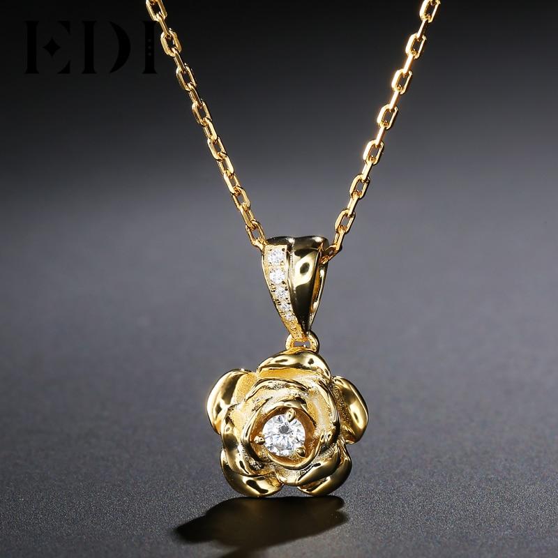 EDI Trend Rounc Cut Natural Diamond 0.1ct 925 Sterling Silver Pendant Necklace For Women Fine Jewelry hardy limeback comprehensive preventive dentistry