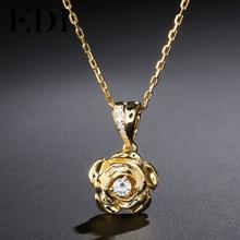 EDI Trend Rounc Cut Natural Diamond 0.1ct 925 Sterling Silver Pendant Necklace For Women Fine Jewelry
