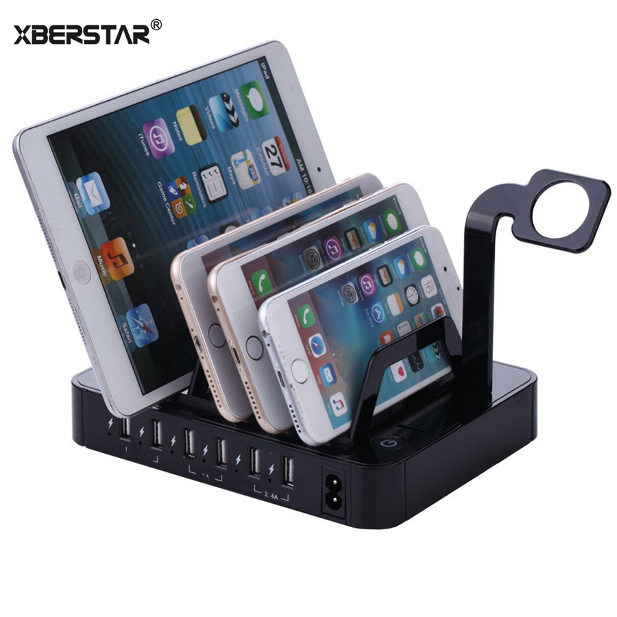 50W 6 Ports USB Charger Desktop USB Charging Station For iPad iPhone Samsung smart phones Tablet Fast Charger Docking Stand