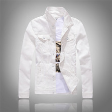 2019 Spring and Autumn New Korean White Denim Jacket Mens Slim Long Sleeve Black