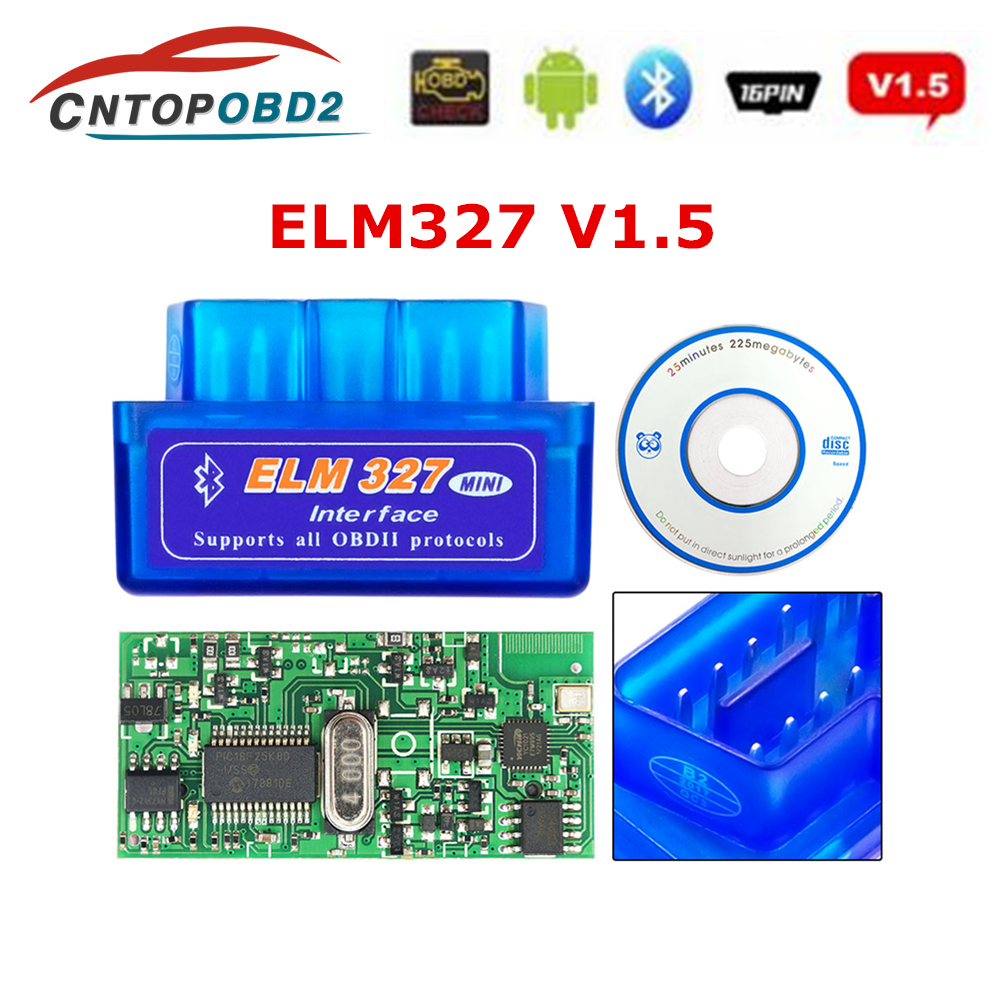 Nueva herramienta de diagnóstico de coche OBD2 escáner automático ELM327 V1.5 PIC18F25K80 Chip Bluetooth elm 327 1,5 para Android/IOS Nuevo V1.5 Elm327 adaptador Bluetooth Obd2 Elm 327 V 1,5 escáner de diagnóstico automático para Android Elm-327 Obd 2 ii herramienta de diagnóstico de coche