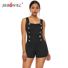 SEBOWEL Sleeveless Button Playsuits for Woman Summer Female Sexy Curve Short Jumpsuit Rompers 2019 Ladies Overalls Size S-XL