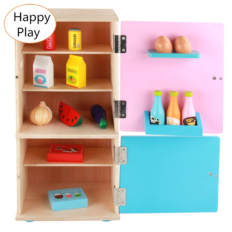 Wooden Toy Furniture Toy Set Child Kids Pretend Play Simulation Refrigerator Furniture Toy Wooden Toys gift 32pcs set repair tools toy children builders plastic fancy party costume accessories set kids pretend play classic toys gift