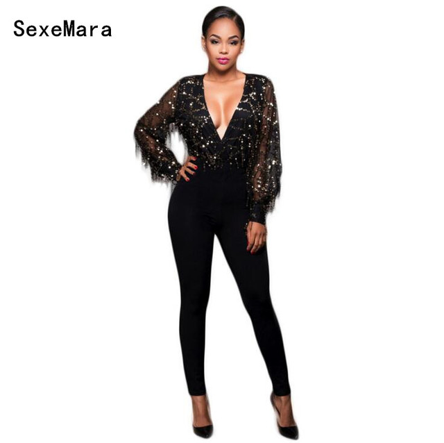 2017 Spring sexy deep v neck mesh Women Jumpsuits Fashion Sequins Tassels Bodysuit Overalls Night Club Rompers Jumpsuit