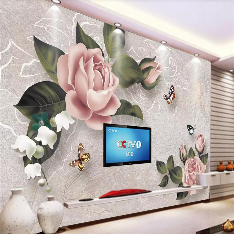 Retro rose sofa TV background wall custom high end mural factory wholesale wallpaper mural photo wall in Fabric Textile Wallcoverings from Home Improvement