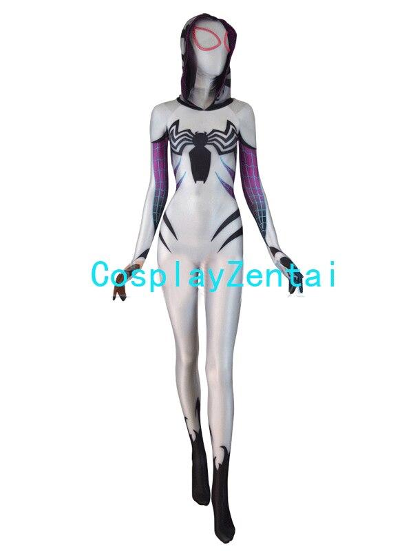 Venuše Gwen Spidergirl kostým bílý proti Gwenom Spandx 3D tisk - Kostýmy