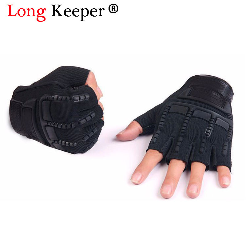 5-13 Years Old Kids Tactical Fingerless Gloves Military Armed Anti-Skid Rubber Knuckle Black Half Finger Boys Children Gloves