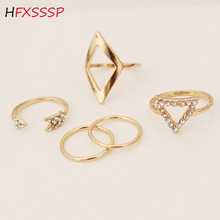 HFXSSSP Trend arrow / rhinestone/ triangle plating alloy ring fashion wild   set rhinestone joint five-piece suit ring jewelry alloy plating gold rhinestone finger ring golden