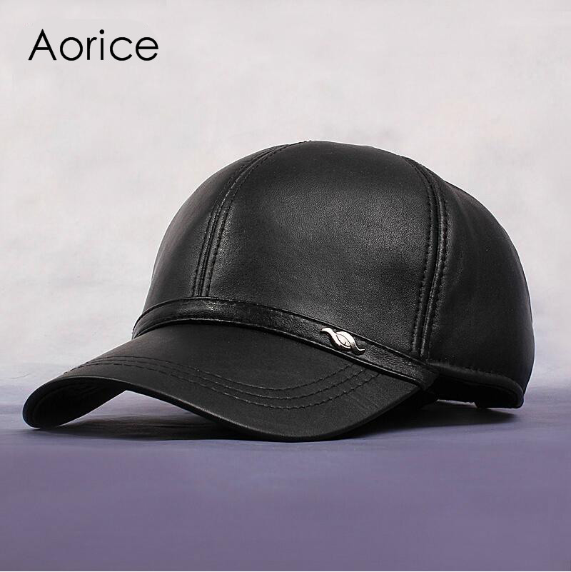 HL044 New Men S 100 Genuine Leather Military Hat Cap Hats Baseball Adjustable