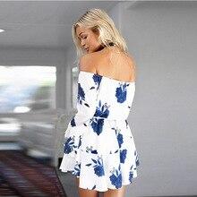 Floral White Background Off Shoulder Beach Dress
