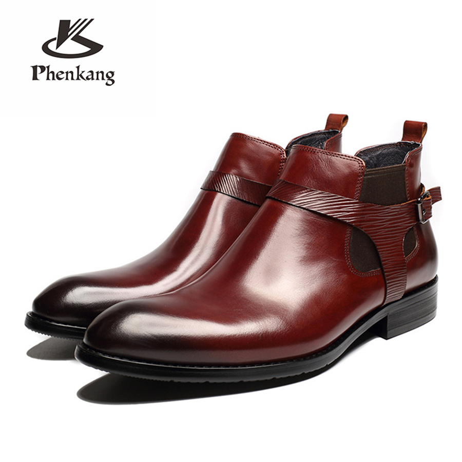 Men winter Boots Genuine cow leather chelsea boots brogue shoes casual ankle shoes Comfortable quality soft handmade flat Shoes