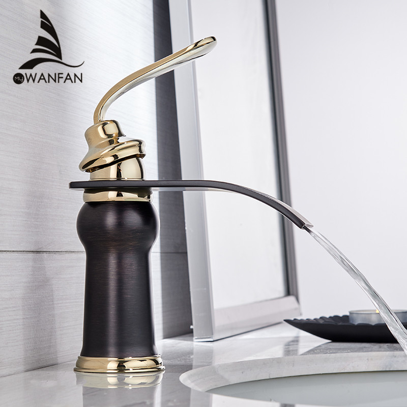 Смесители для раковины Современный стиль ванная комната кран на бортике Водопад одно отверстие Смесители как холодной, так и горячей воды к...