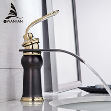 Modern Style New Basin Faucet Deck Mounted Waterfall  Bathroom Cold and Hot Water Mixer Multi Color Choices 9273