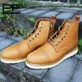Pathfinder Design de Moda Ao Ar Livre Casuais Sapatos Feitos À Mão de Couro Genuíno Lace-up Qualidade Ankle Botas Bullock Retro Homens Flats