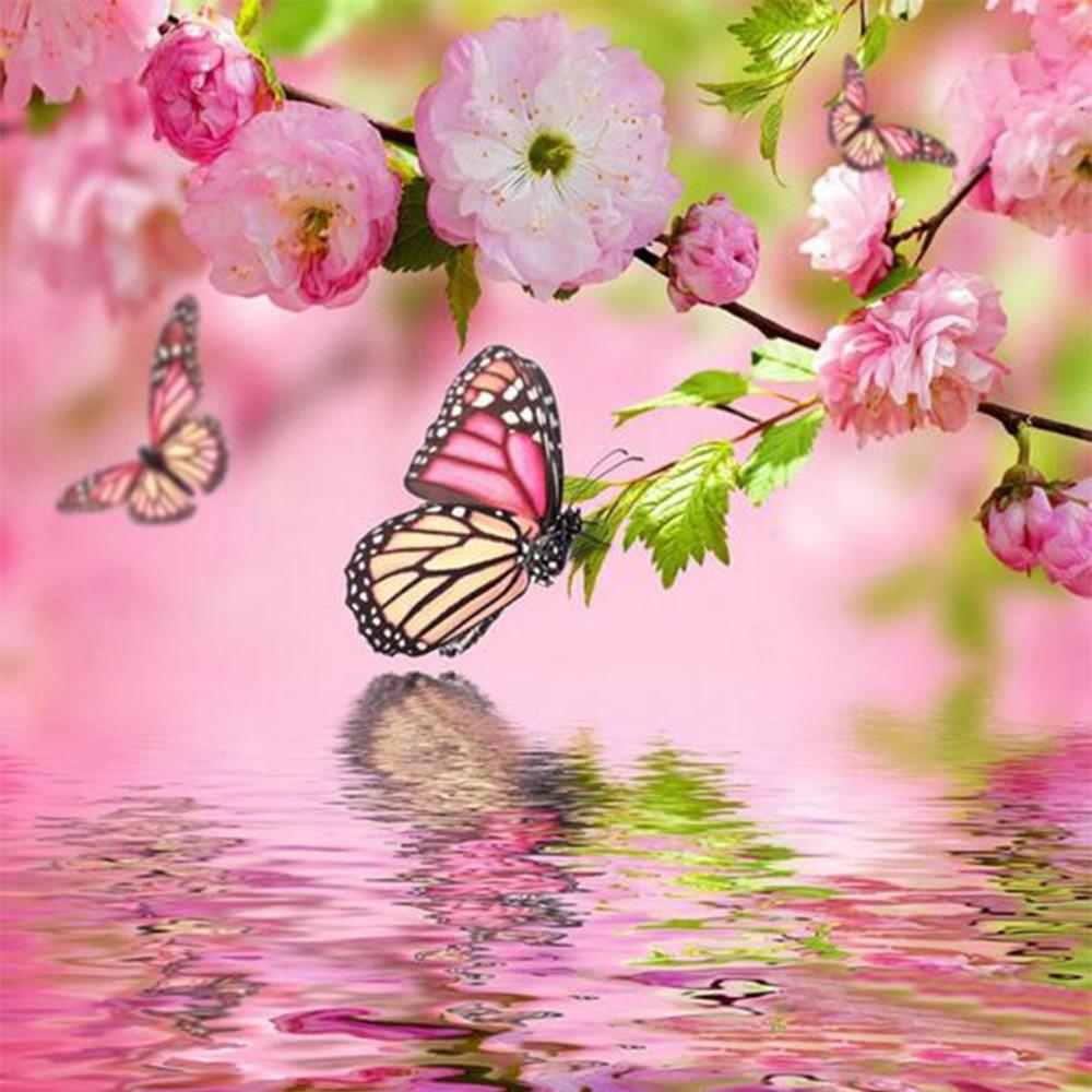 5d plné kosočtverce květiny a motýli výšivky šití diy diamantové vrtačky malování fotografie zdi kříž domácí dekorace K59